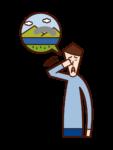 Illustration of glaucoma (male)