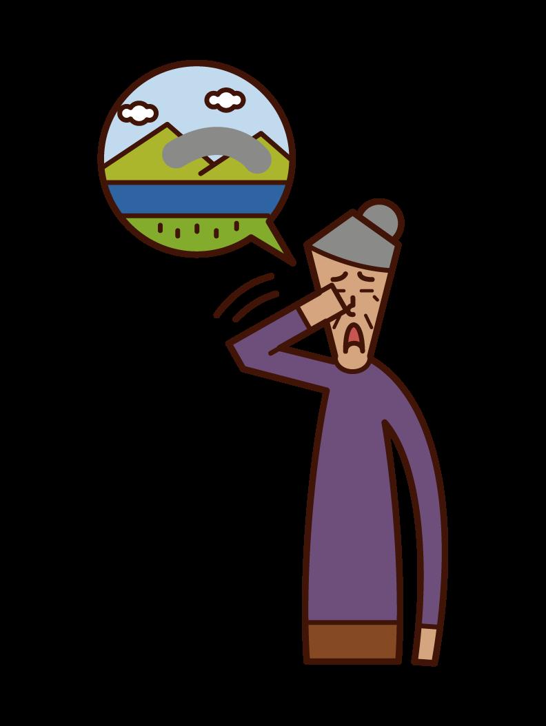 Illustration of glaucoma (grandmother)