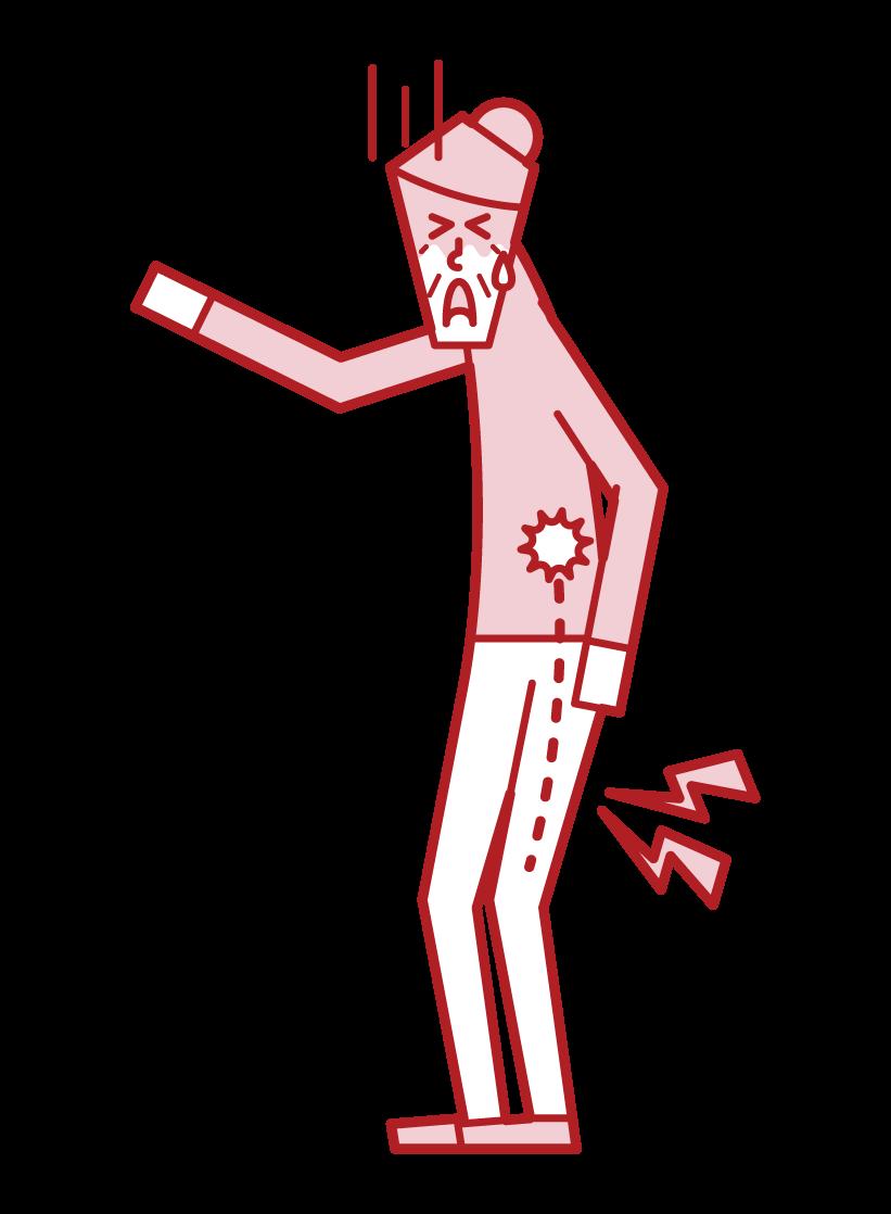 坐骨神経痛・腰椎椎間板ヘルニア(おばあさん)のイラスト