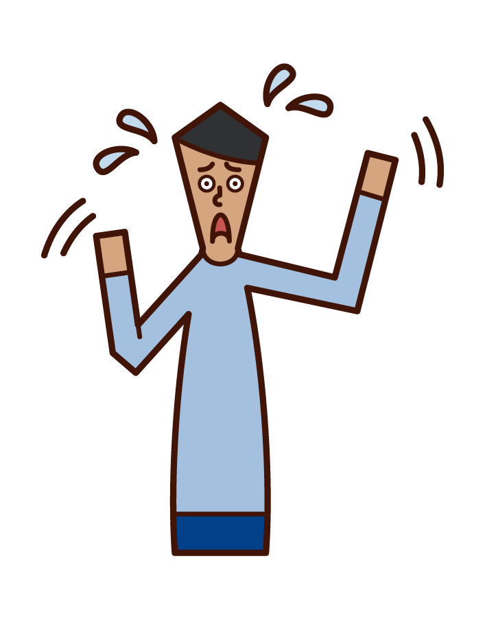 Illustration of a panicked person (male)