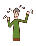Illustration of a panicked person (old man)