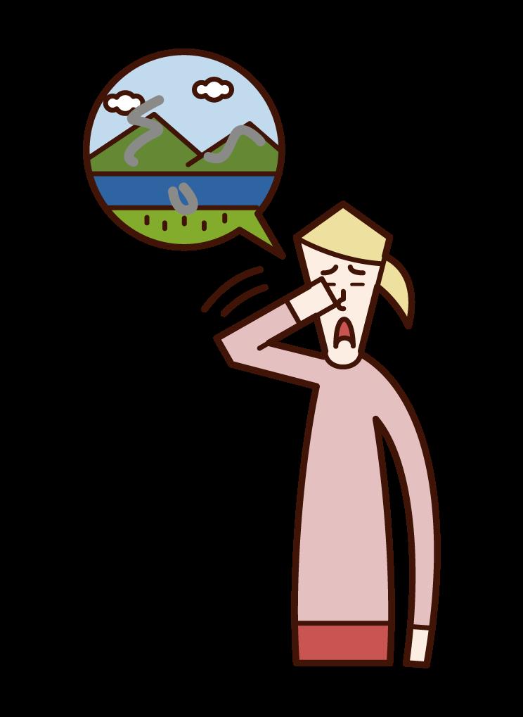 飛蚊症(女性)のイラスト
