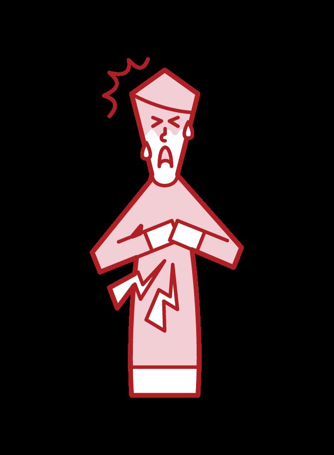 Illustration of ischemic heart disease, myocardial infarction, angina pectoris, heart failure (boy)