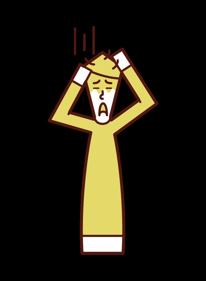 適応障害・ストレスを感じる人(男性)のイラスト