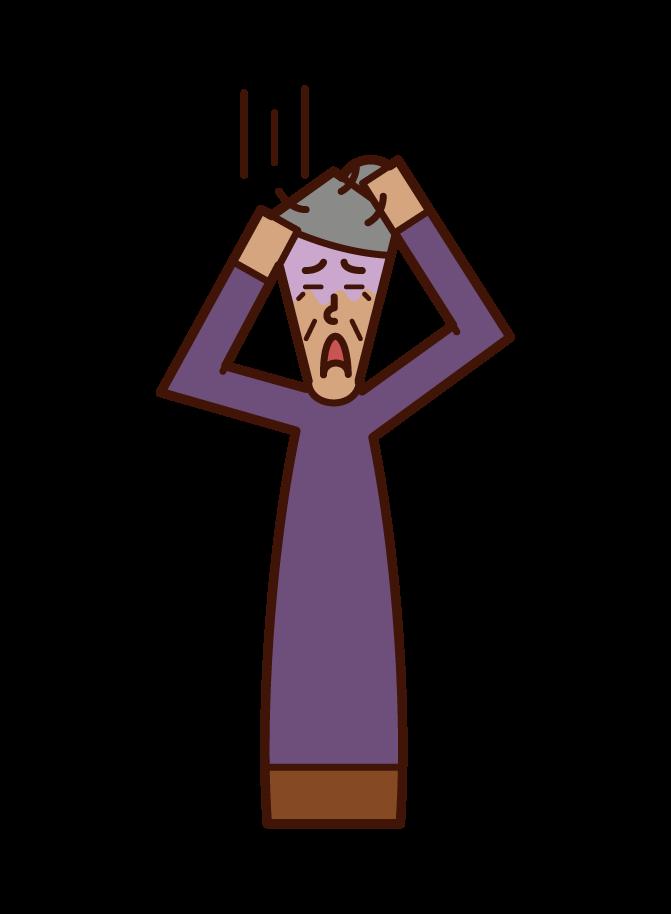 적응 장애와 스트레스가 있는 사람(할머니)의 일러스트