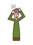 Illustration of a person (old man) who feels adaptive disorders and stress