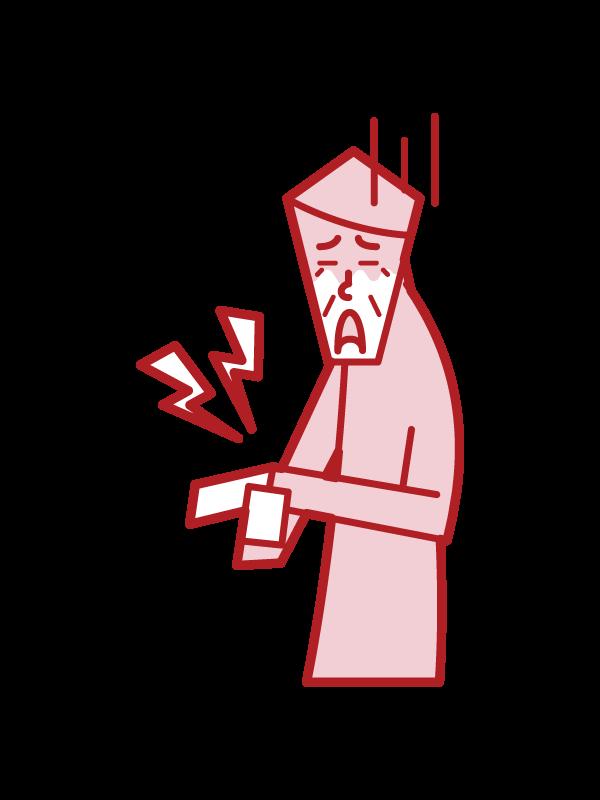 腱鞘炎(おじいさん)のイラスト