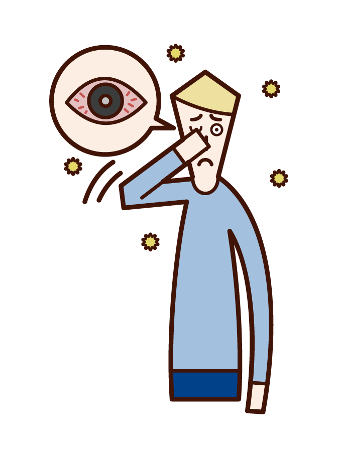 Illustration of allergic conjunctivitis (male)