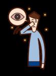 Illustration of allergic conjunctivitis (male)