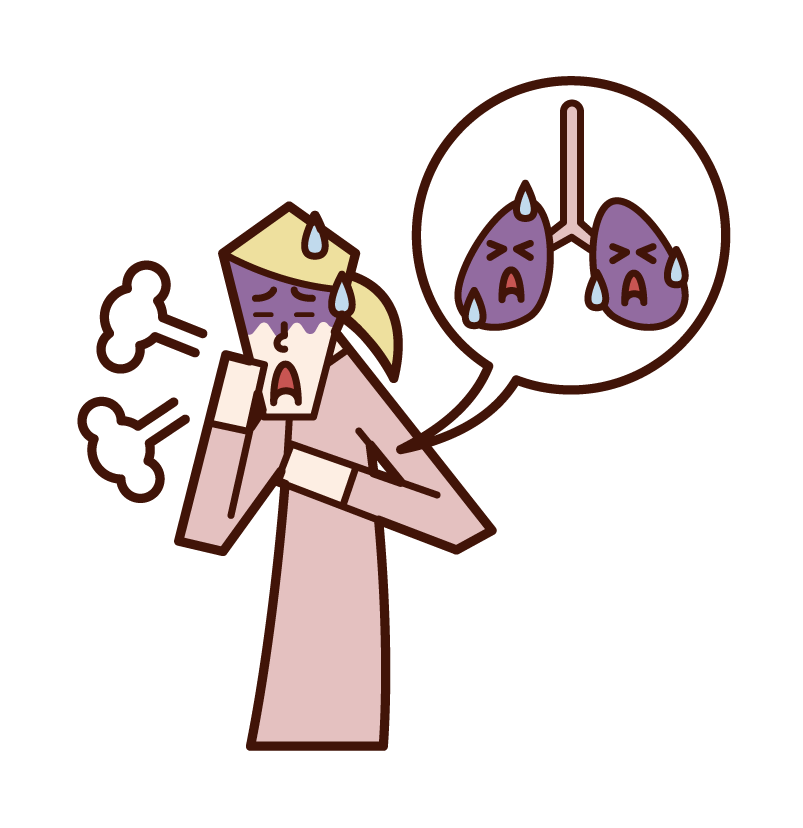 Illustration of lung cancer and lung disease (female)