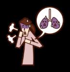 肺癌・肺の病気(女性)のイラスト