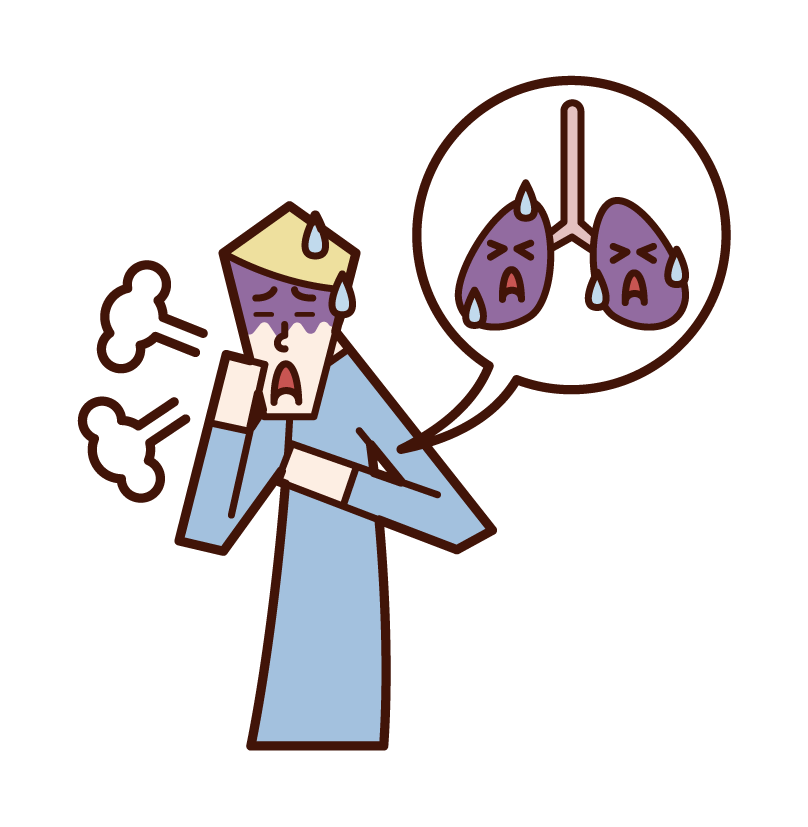 Illustration of lung cancer and lung disease (male)