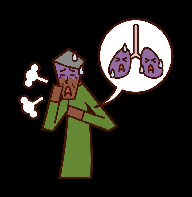 肺癌・肺の病気(おじいさん)のイラスト