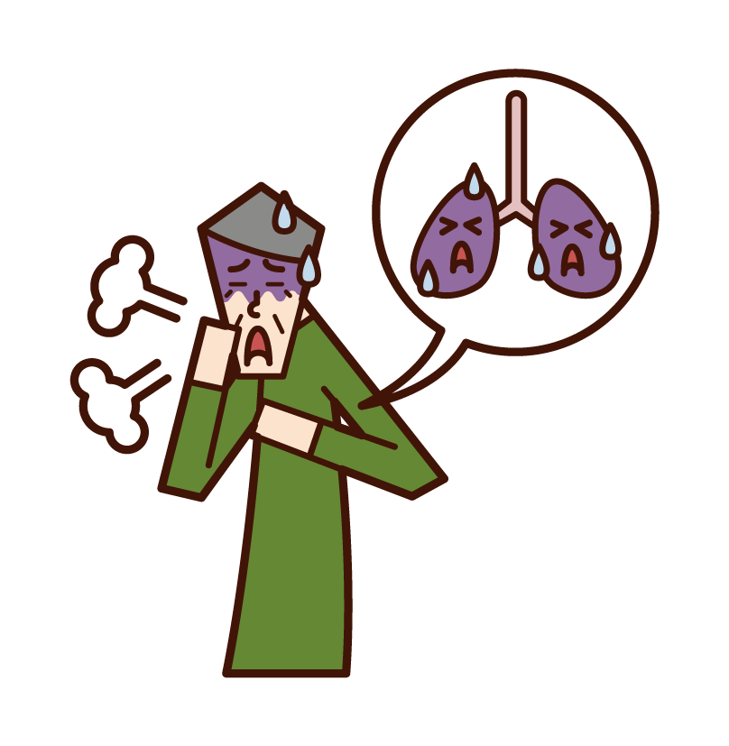Illustration of lung cancer and lung disease (old father)