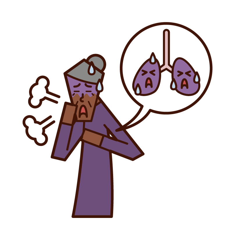 Illustration of lung cancer and lung disease (grandmother)