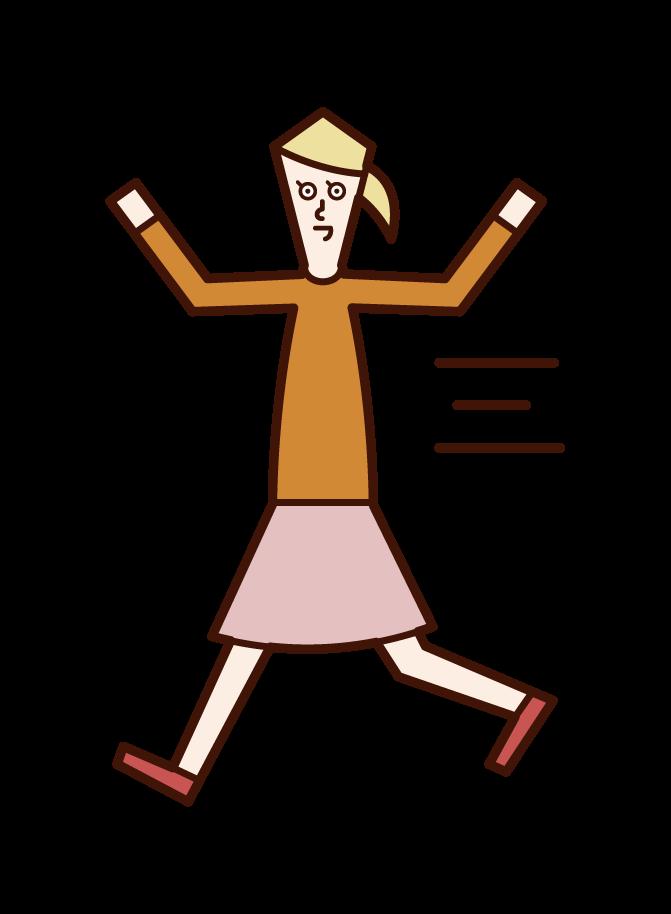 Illustration of a child (girl) running around