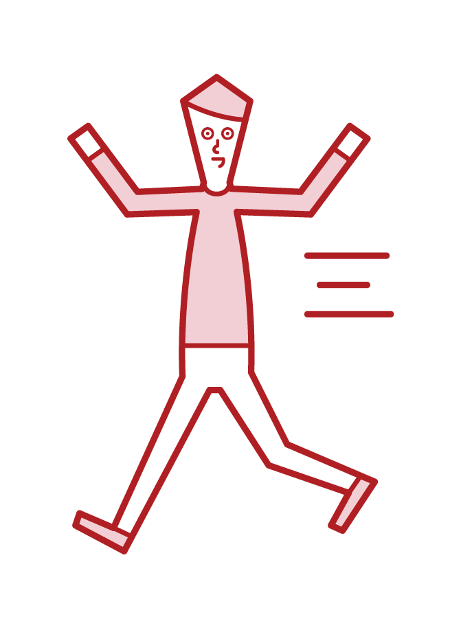 走り回る子供(男子)のイラスト