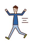 Illustration of a child (boy) running around