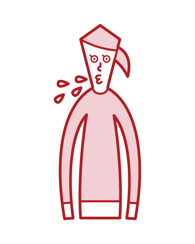 Illustration of a spitting person (woman)