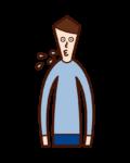 唾を吐く人(男性)のイラスト