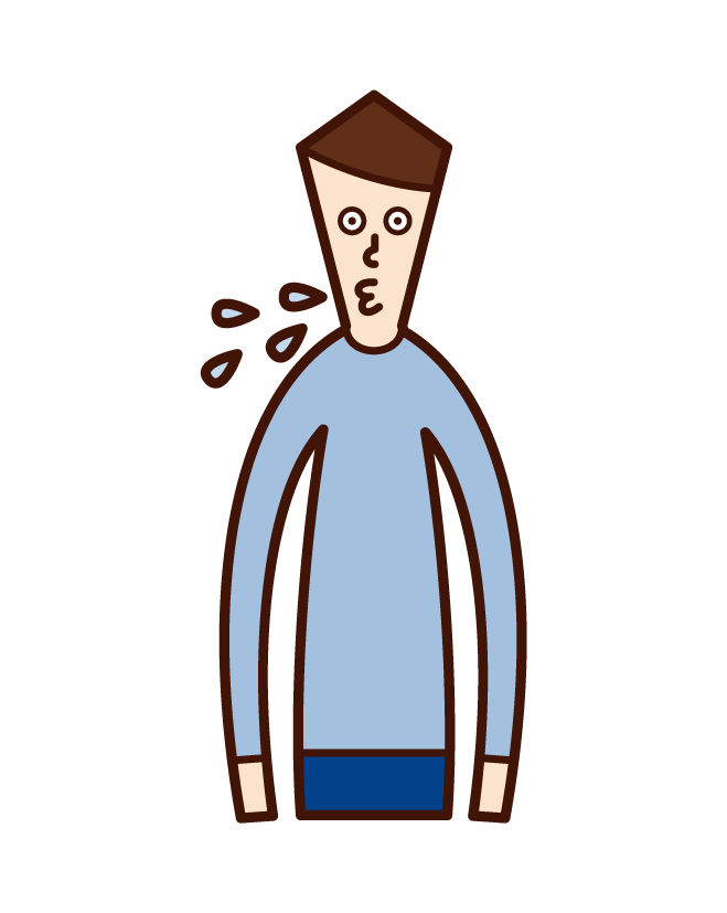Illustration of a spitting person (male)
