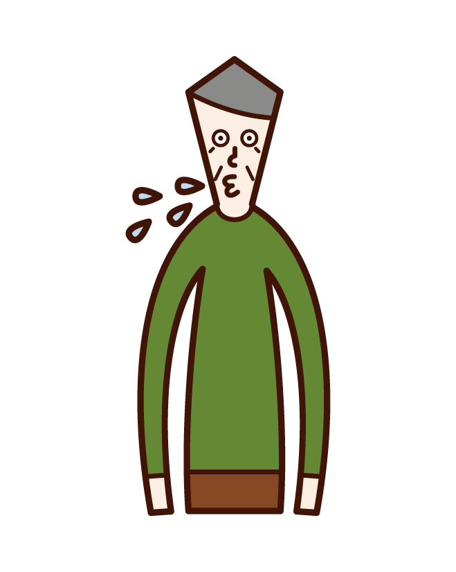 Illustration of a spitting person (old man)