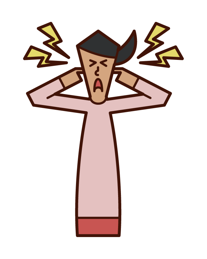 Illustration of a person who blocks noise and ears, hypersensitivity to hearing (woman)