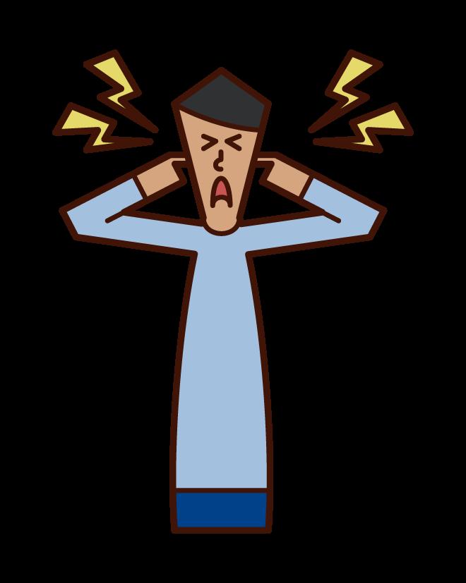 소음, 귀마개, 청각 알레르기 (남성)의 그림