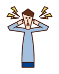 Illustration of a person who blocks noise and ears, hypersensitivity to hearing (male)