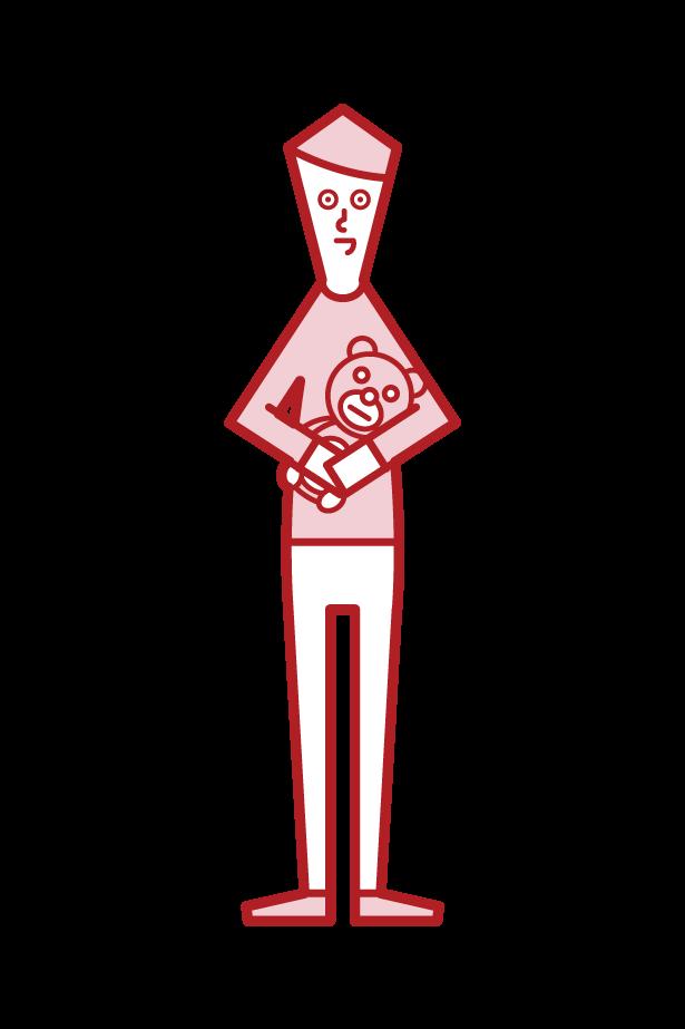 ぬいぐるみを持つ子供(男子)のイラスト
