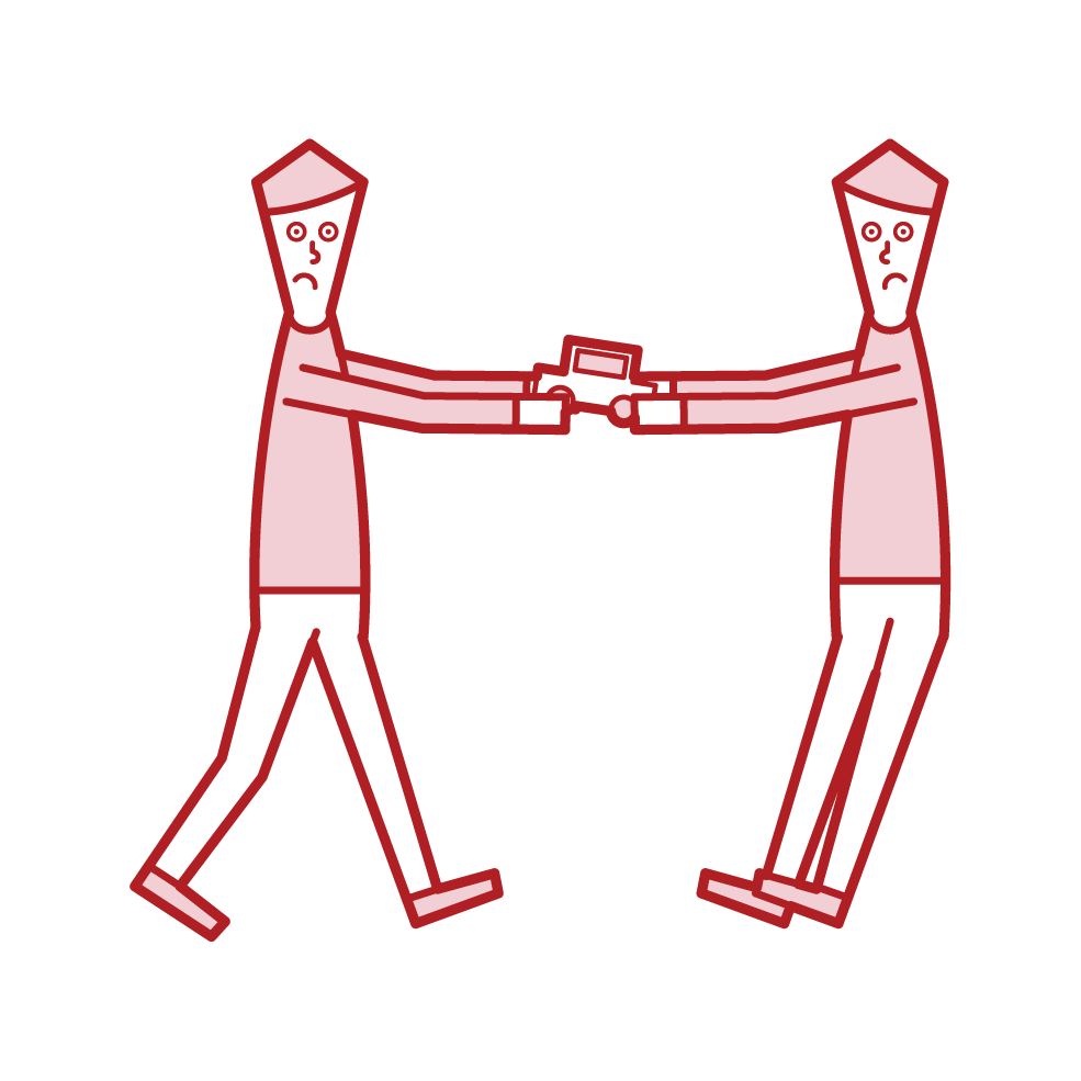 Illustration of a child fighting with a toy (boy)