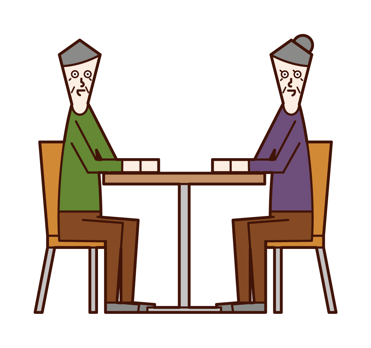 Illustration of an elderly couple sitting down and talking