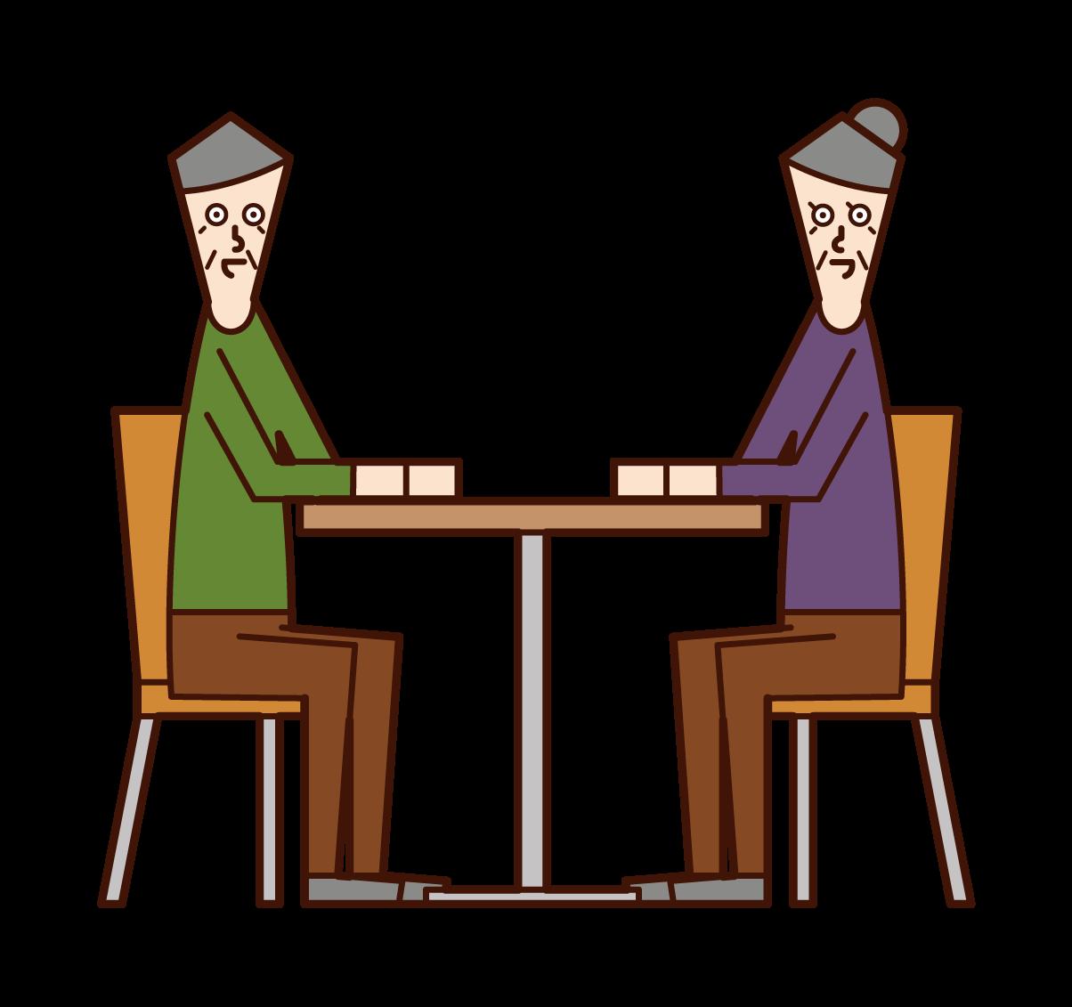 座って話をするお年寄り(老夫婦)のイラスト