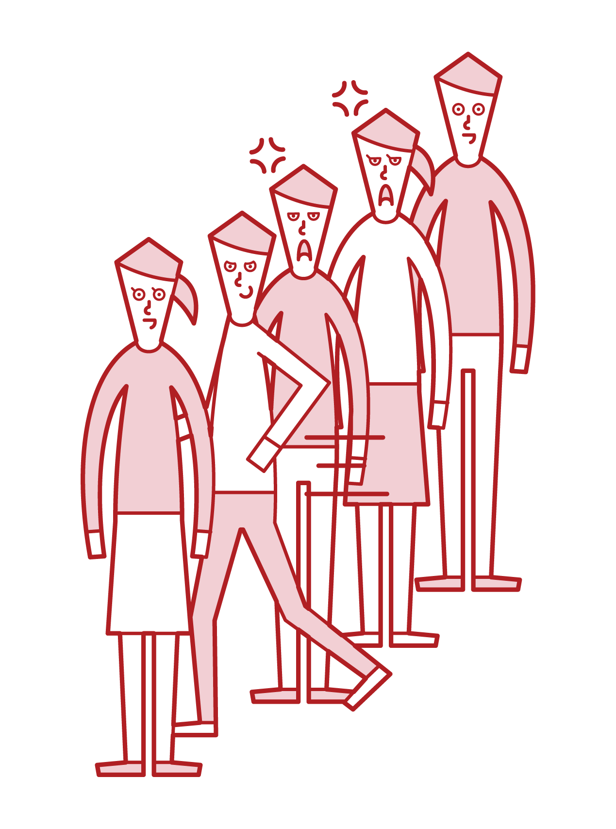順番を抜かす人(男性)のイラスト