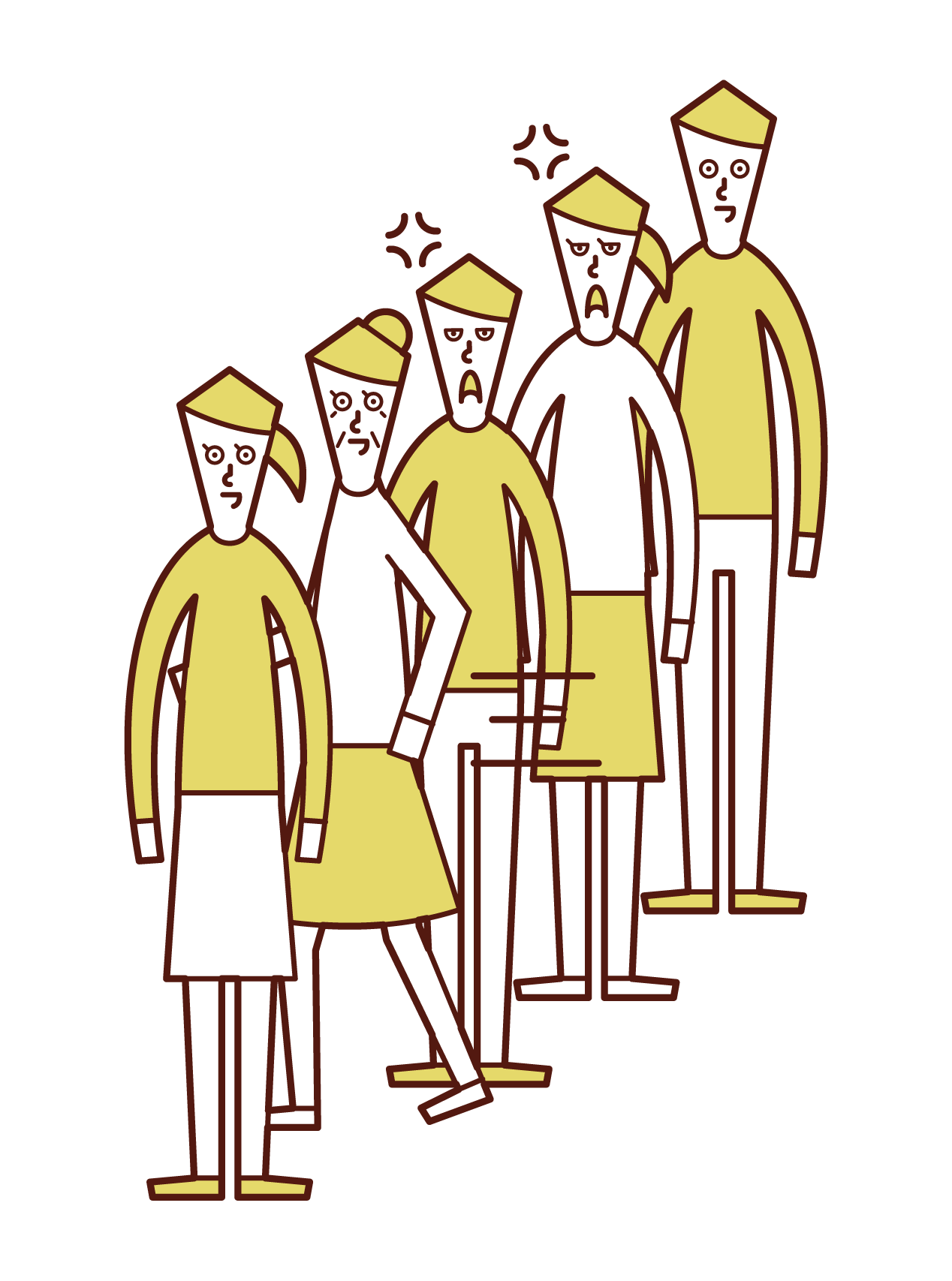Illustration of a person (grandmother) who pulls out the order