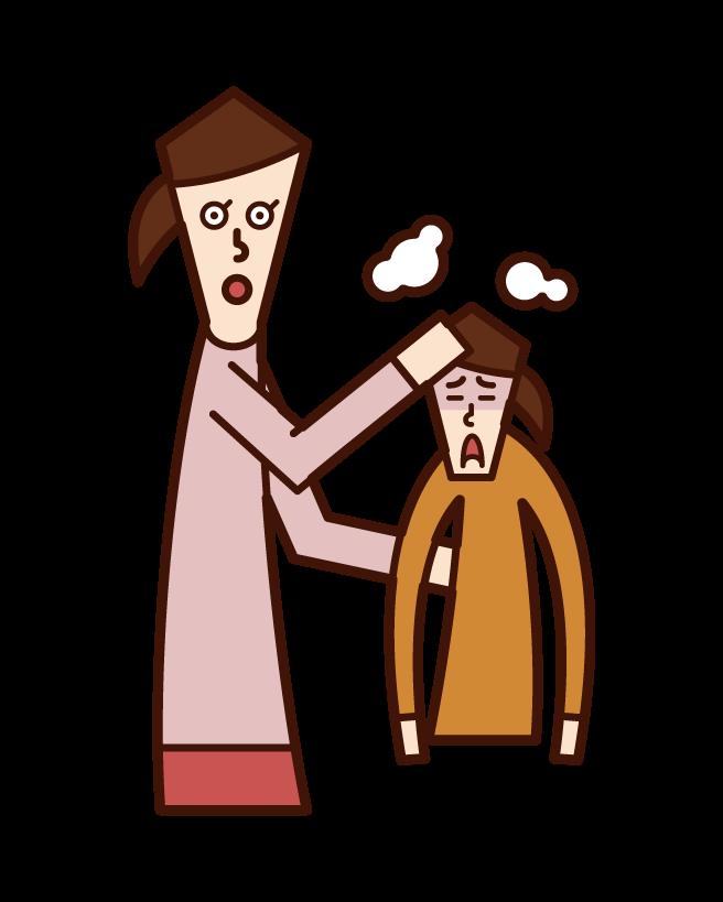 발열이 있는 어린이와 감기(소녀)의 일러스트