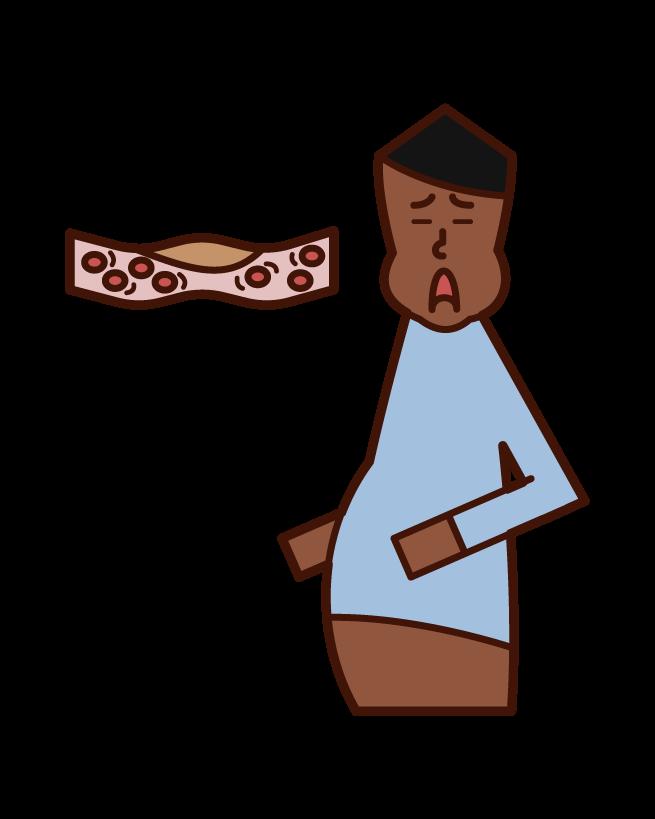 脂質異常症・高脂血症・ドロドロの血液(男性)のイラスト