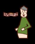 脂質異常症・高脂血症・ドロドロの血液(おじいさん)のイラスト