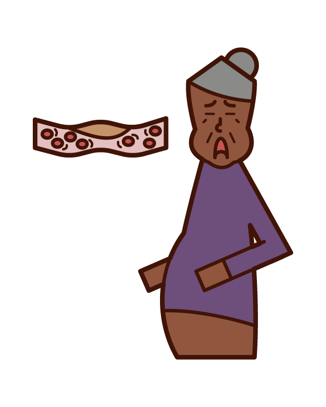脂質異常症・高脂血症・ドロドロの血液(おばあさん)のイラスト