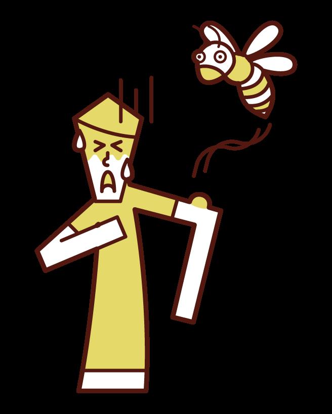 알레르기성 쇼크 꿀벌에 물린 사람 (남성)의 그림