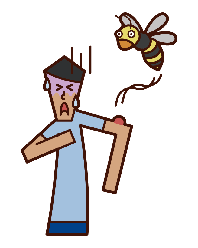 Illustration of a man who was stung by an anaphylaxis shock bee
