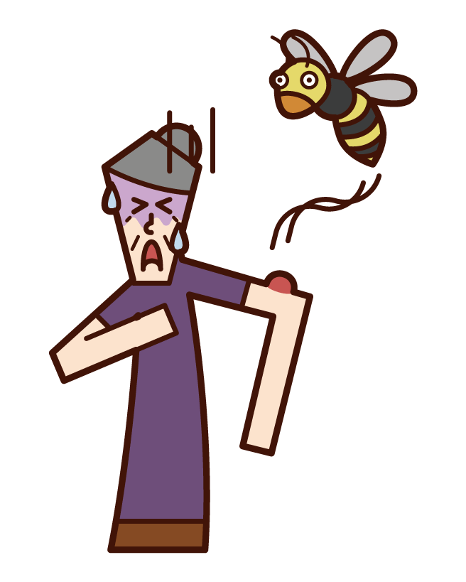 Illustration of an old man who was stung by an anaphylaxis shock bee