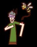 알레르기성 쇼크 꿀벌에 물린 사람 (할아버지)의 일러스트