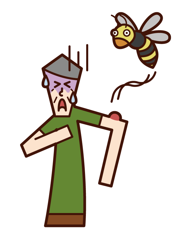 Illustration of an old man who was stung by a bee