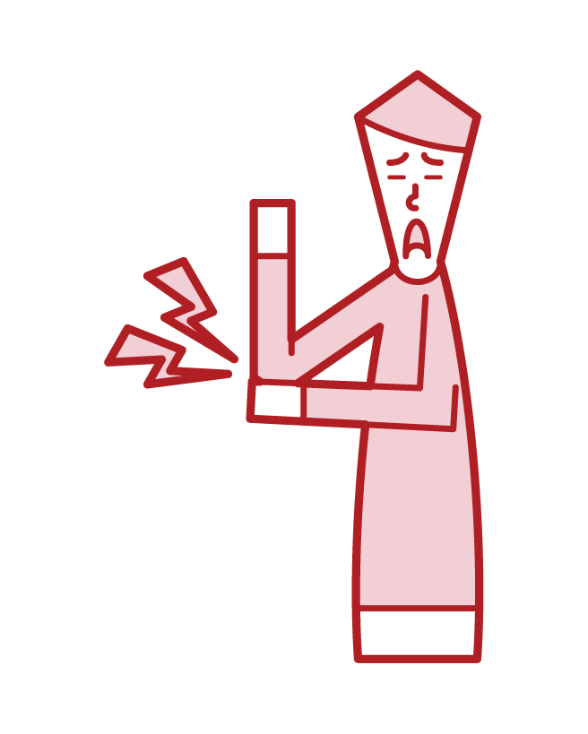 肘の痛み(男性)のイラスト