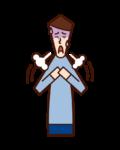 呼吸困難・過呼吸(男性)のイラスト