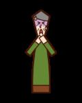 窒息する人(おじいさん)のイラスト