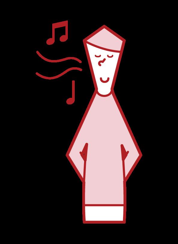 鼻歌を唄う人(男性)のイラスト