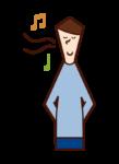 Illustration of a man singing a nasal song