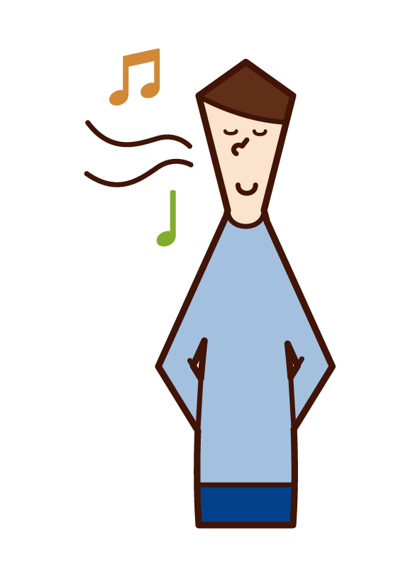 Illustration of a man singing a nasal song